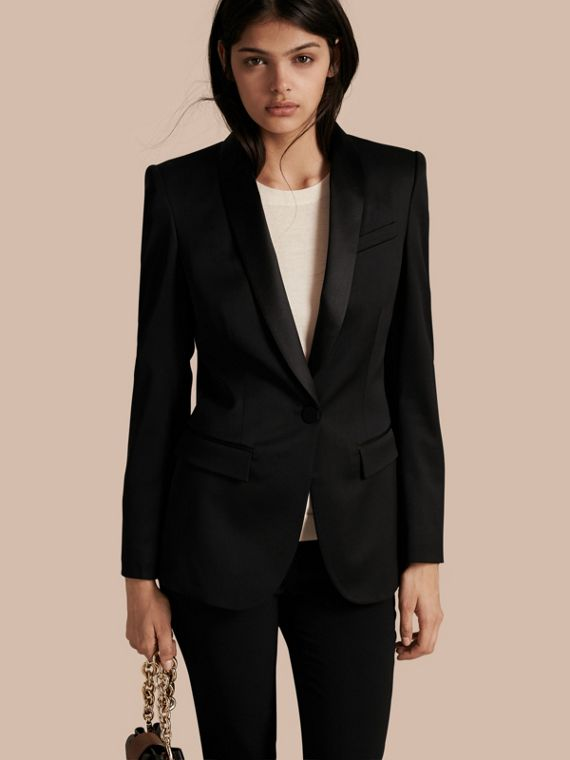 Stretch Wool Tuxedo Jacket - Women | Burberry Hong Kong