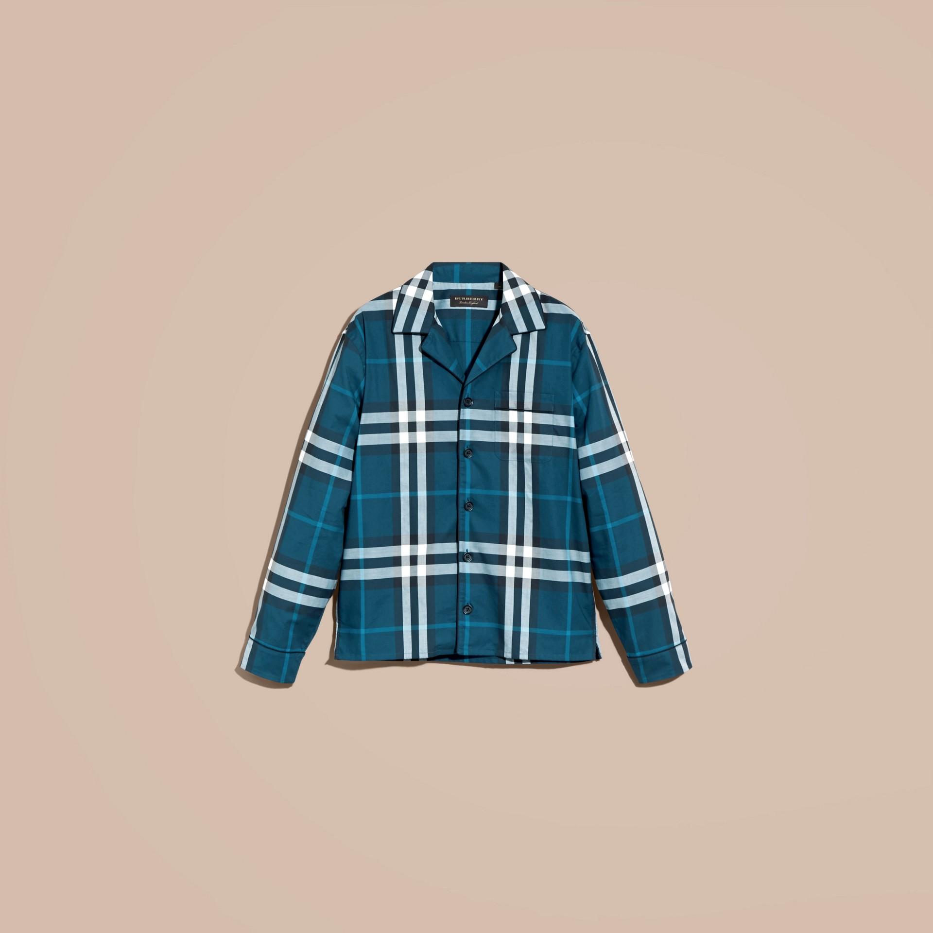 Cadet blue Check Cotton Pyjama-style Shirt Cadet Blue - gallery image 4