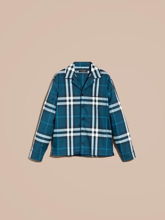 Cadet blue Check Cotton Pyjama-style Shirt Cadet Blue - cell image 3