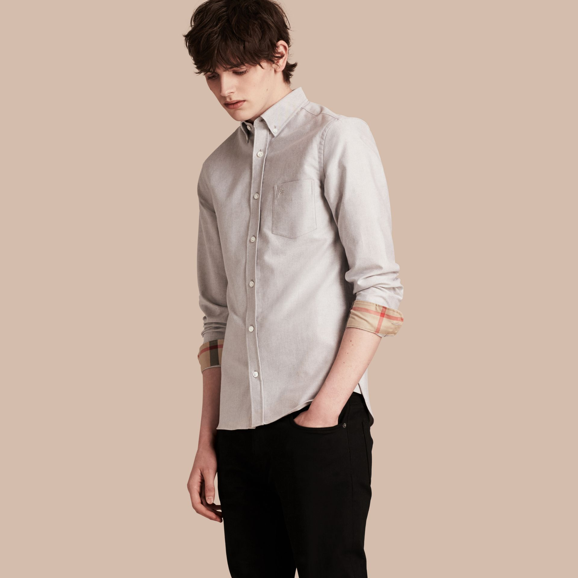 Cotton Oxford Shirt in Charcoal - Men | Burberry United Kingdom - gallery image 1