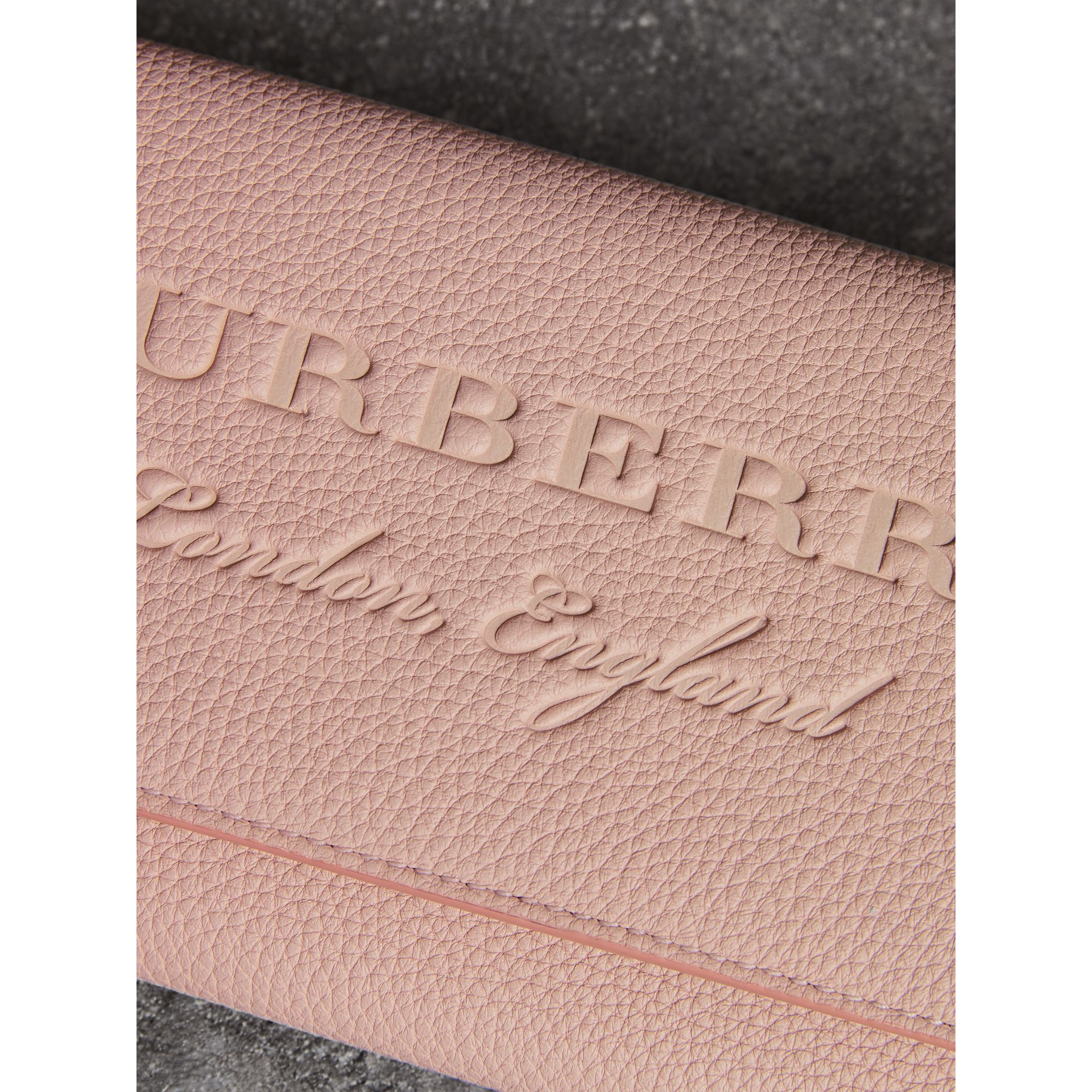 Embossed Leather Wallet with Chain in Pale Ash Rose - Women | Burberry - gallery image 1
