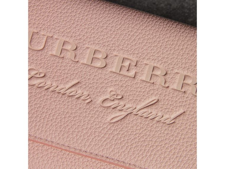 Embossed Leather Wallet with Chain in Pale Ash Rose - Women | Burberry - cell image 1