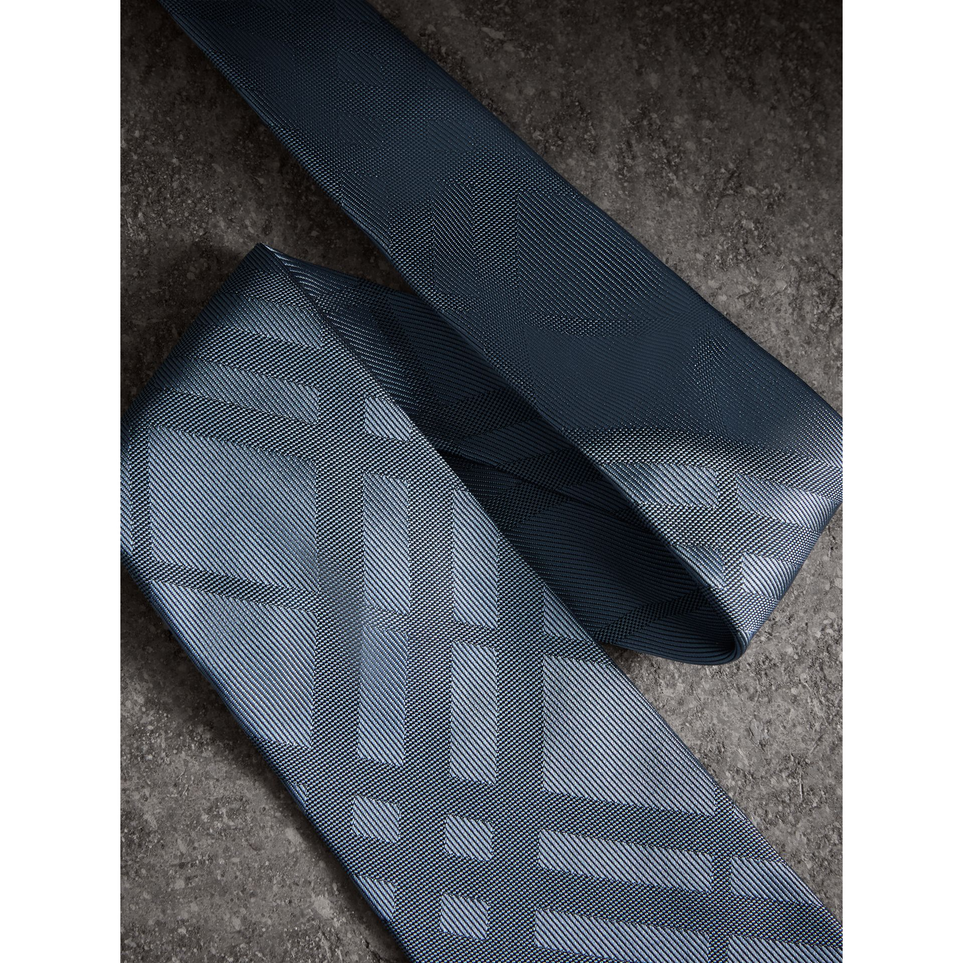 Classic Cut Check Silk Jacquard Tie in Light Blue - Men | Burberry - gallery image 1