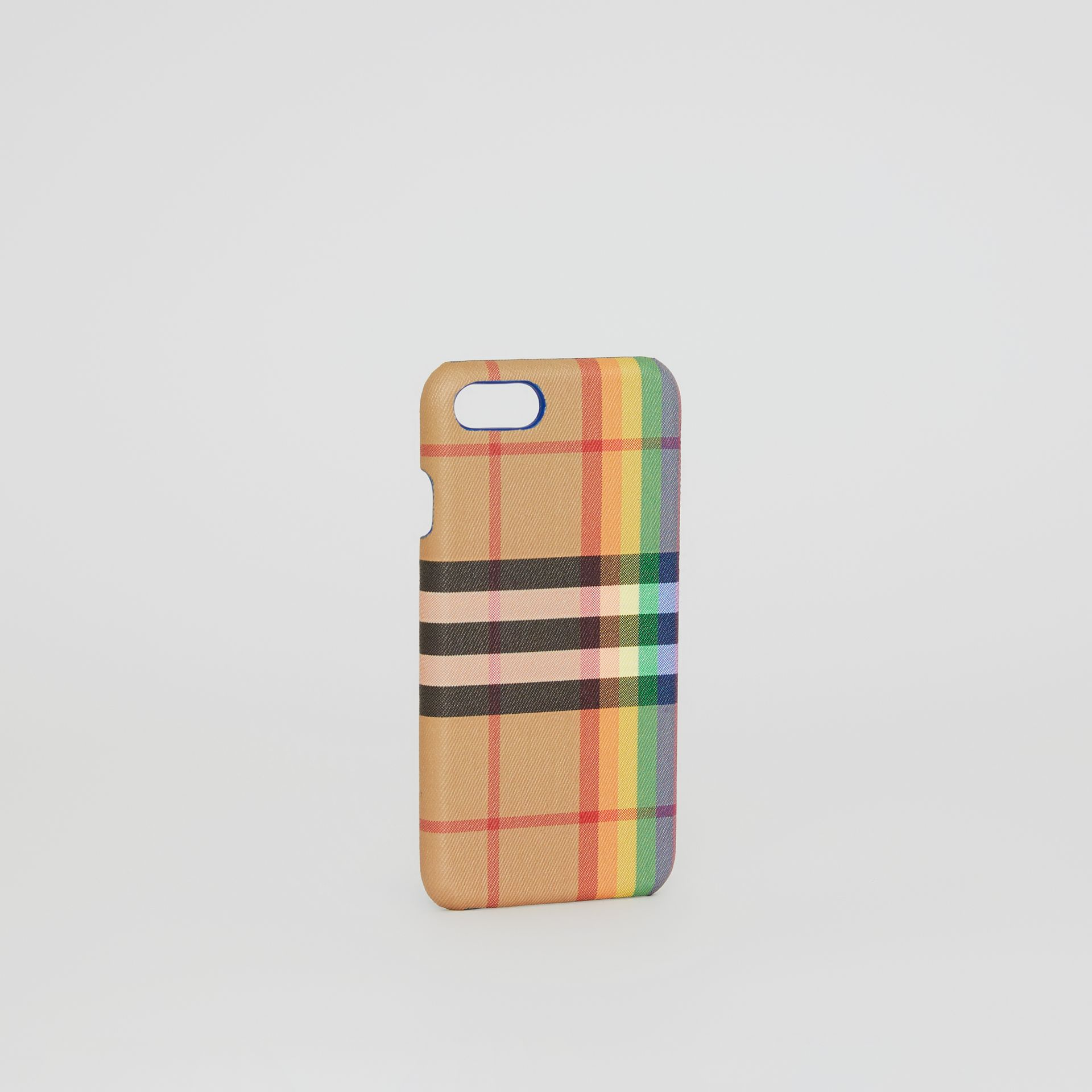 Rainbow Vintage Check and Leather iPhone 8 Case in Multicolour/antique Yellow | Burberry Singapore - gallery image 3