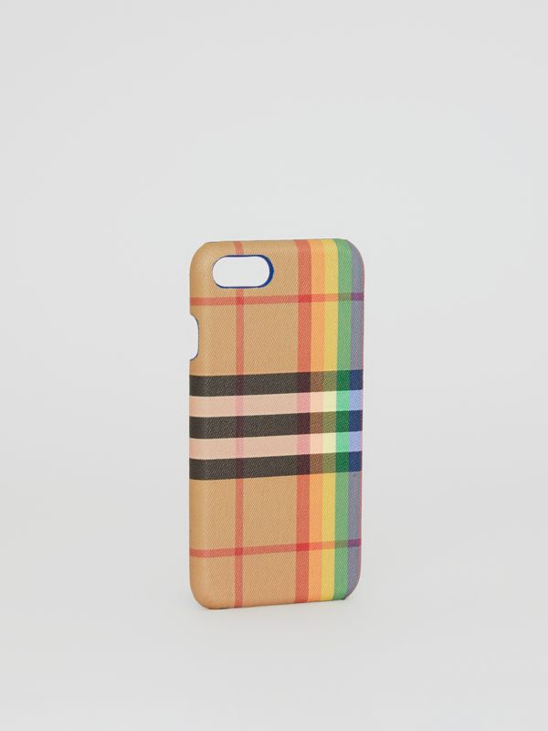 Rainbow Vintage Check and Leather iPhone 8 Case in Multicolour/antique Yellow | Burberry - cell image 3