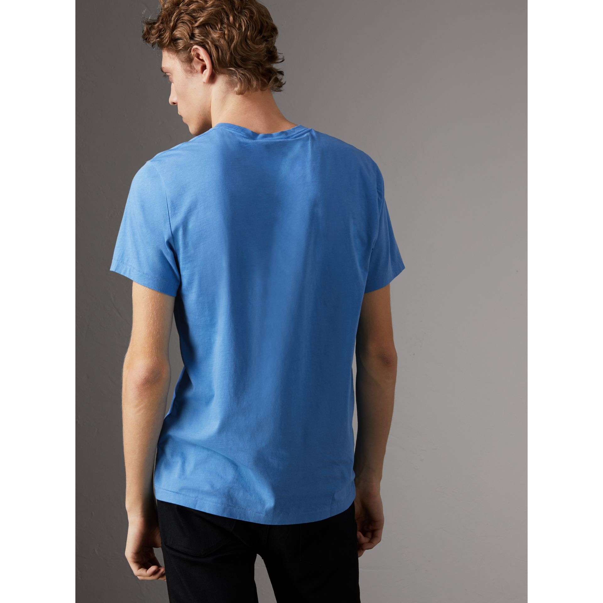 Cotton Jersey T-shirt in Light Azure - Men | Burberry - gallery image 2