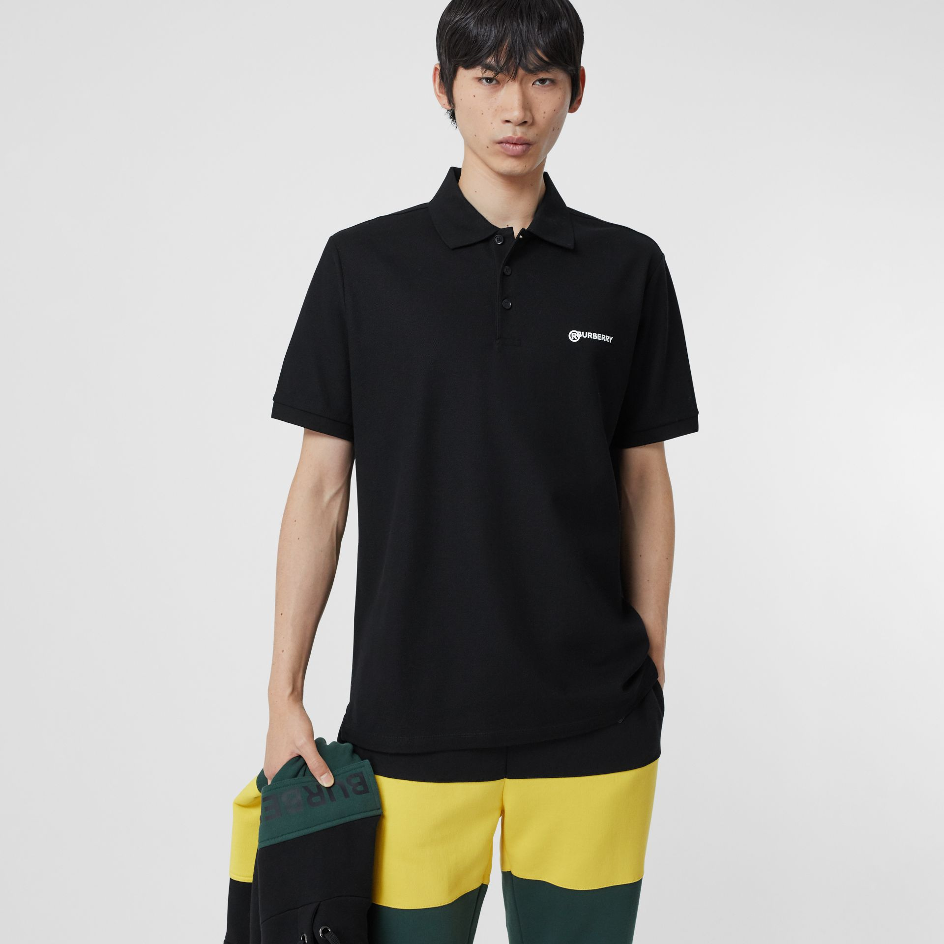 Location Print Cotton Piqué Oversized Polo Shirt in Black - Men | Burberry - gallery image 5