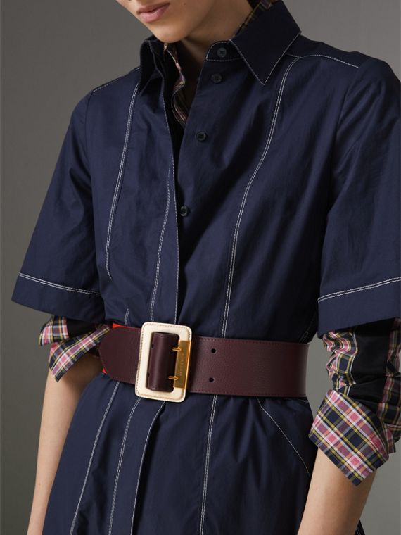 Colour Block Grainy Leather Belt in Deep Claret/clementine - Women | Burberry Hong Kong - cell image 2