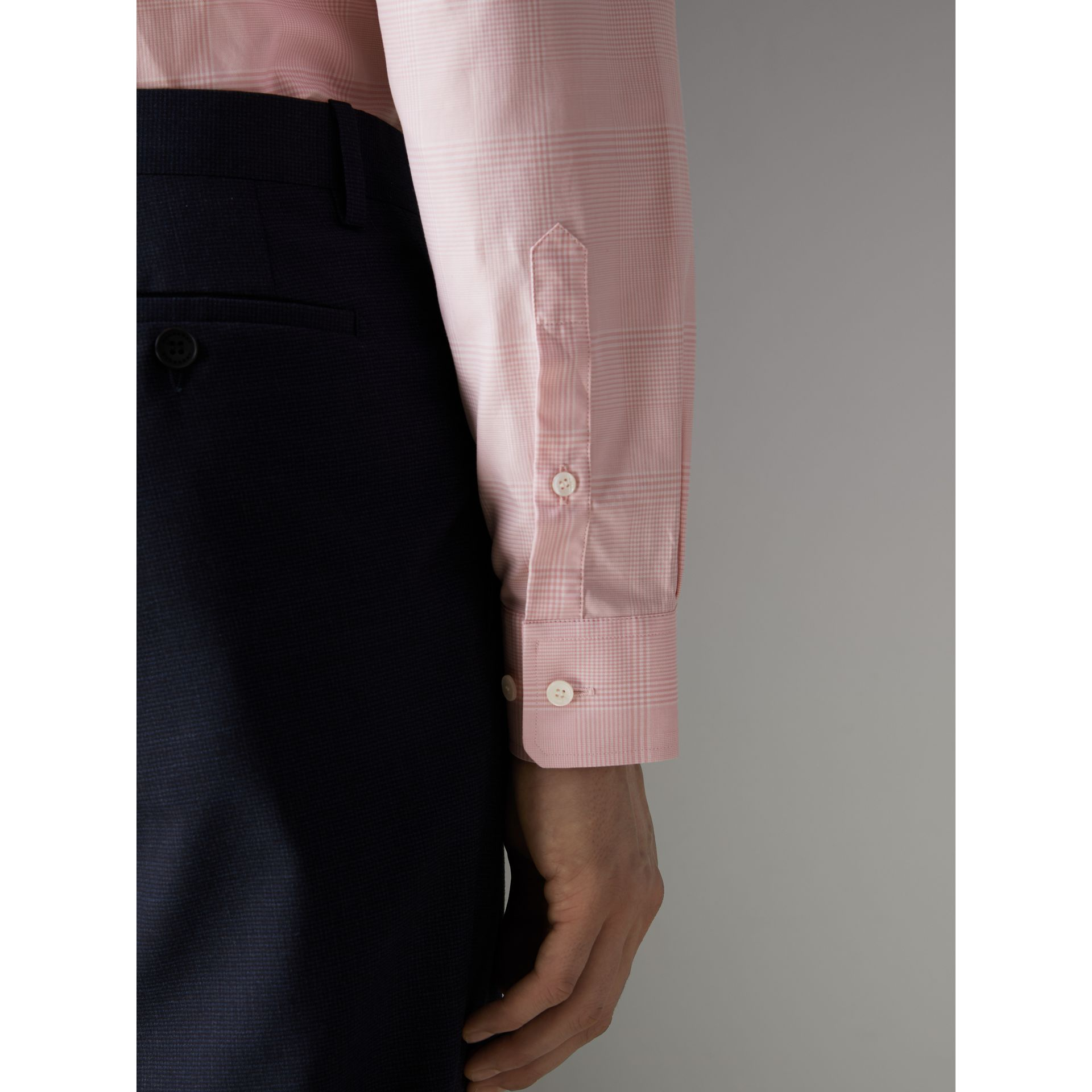 Modern Fit Check Cotton Shirt in Light Pink - Men | Burberry - gallery image 4