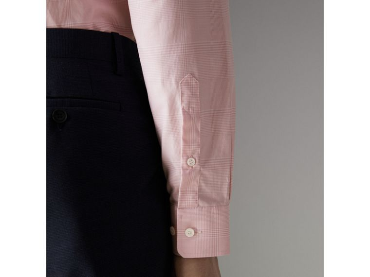 Modern Fit Check Cotton Shirt in Light Pink - Men | Burberry - cell image 4