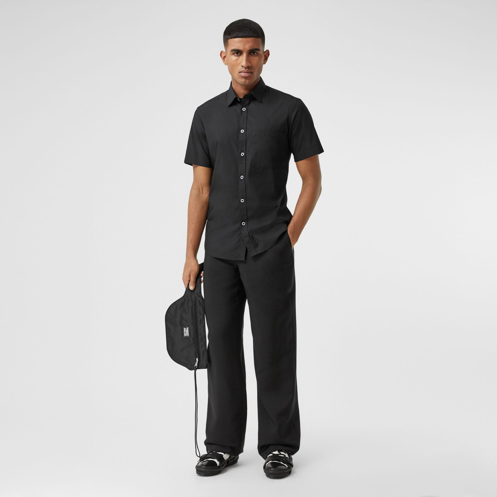 Short-sleeve Slim Fit Stretch Cotton Poplin Shirt in Black - Men | Burberry - gallery image 4