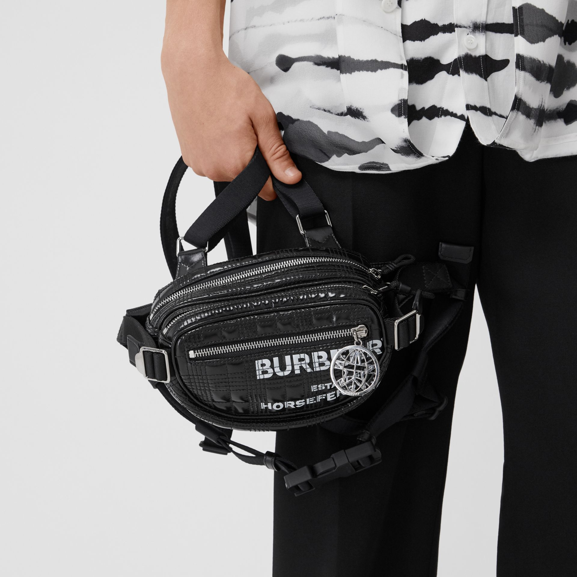 Horseferry Print Coated Canvas Cannon Belt Pack in Black | Burberry Australia - gallery image 11