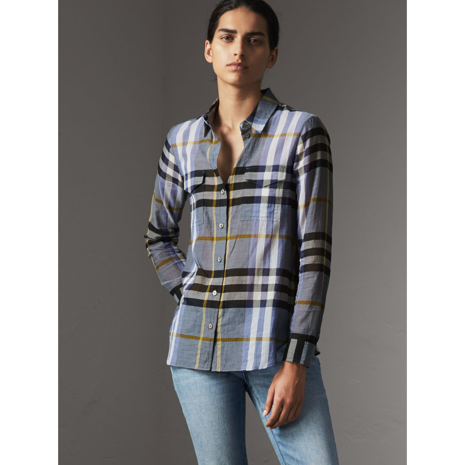 Check Cotton Shirt in Pale Slate Blue - Women | Burberry - gallery image 0