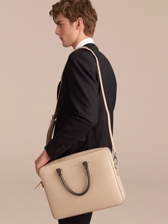 London Leather Briefcase in Honey/bitter Chocolate - Men | Burberry - cell image 3