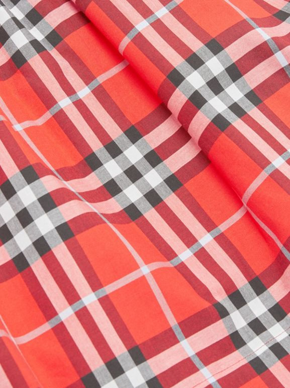 Vintage Check Cotton Dress in Orange Red | Burberry United Kingdom - cell image 1