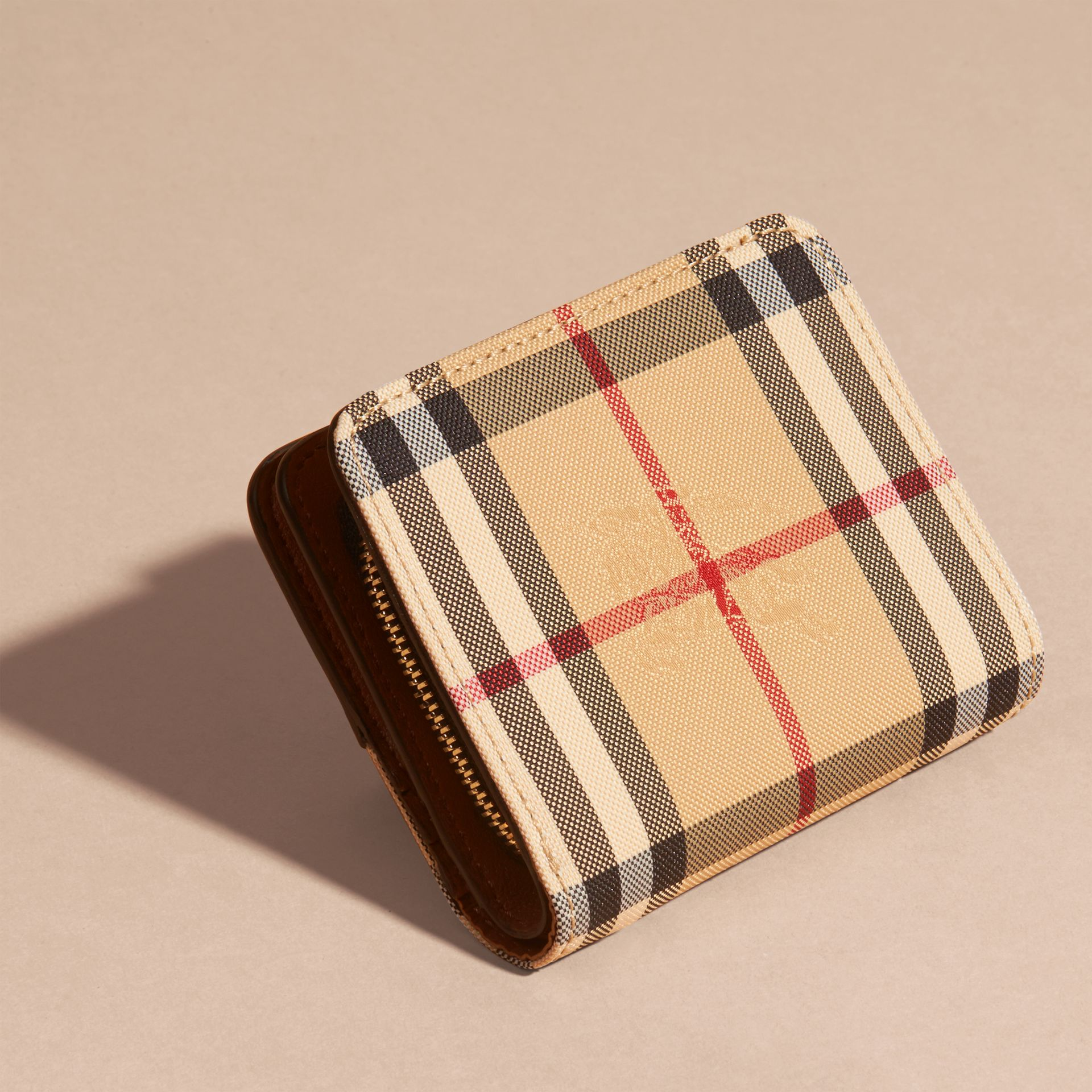 Horseferry Check and Leather Wallet Tan - gallery image 4