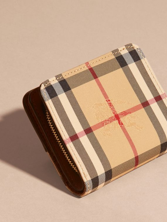 Tan Horseferry Check and Leather Wallet Tan - cell image 3