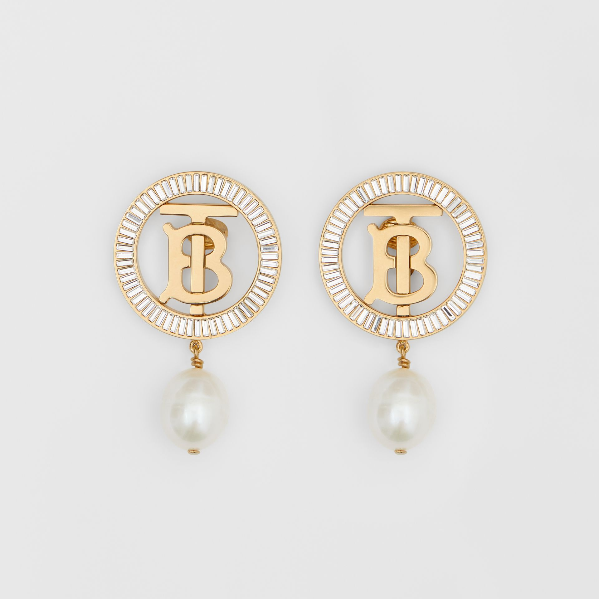 Pearl Detail Gold-plated Monogram Motif Earrings in Light Gold/crystal/white - Women | Burberry - gallery image 0