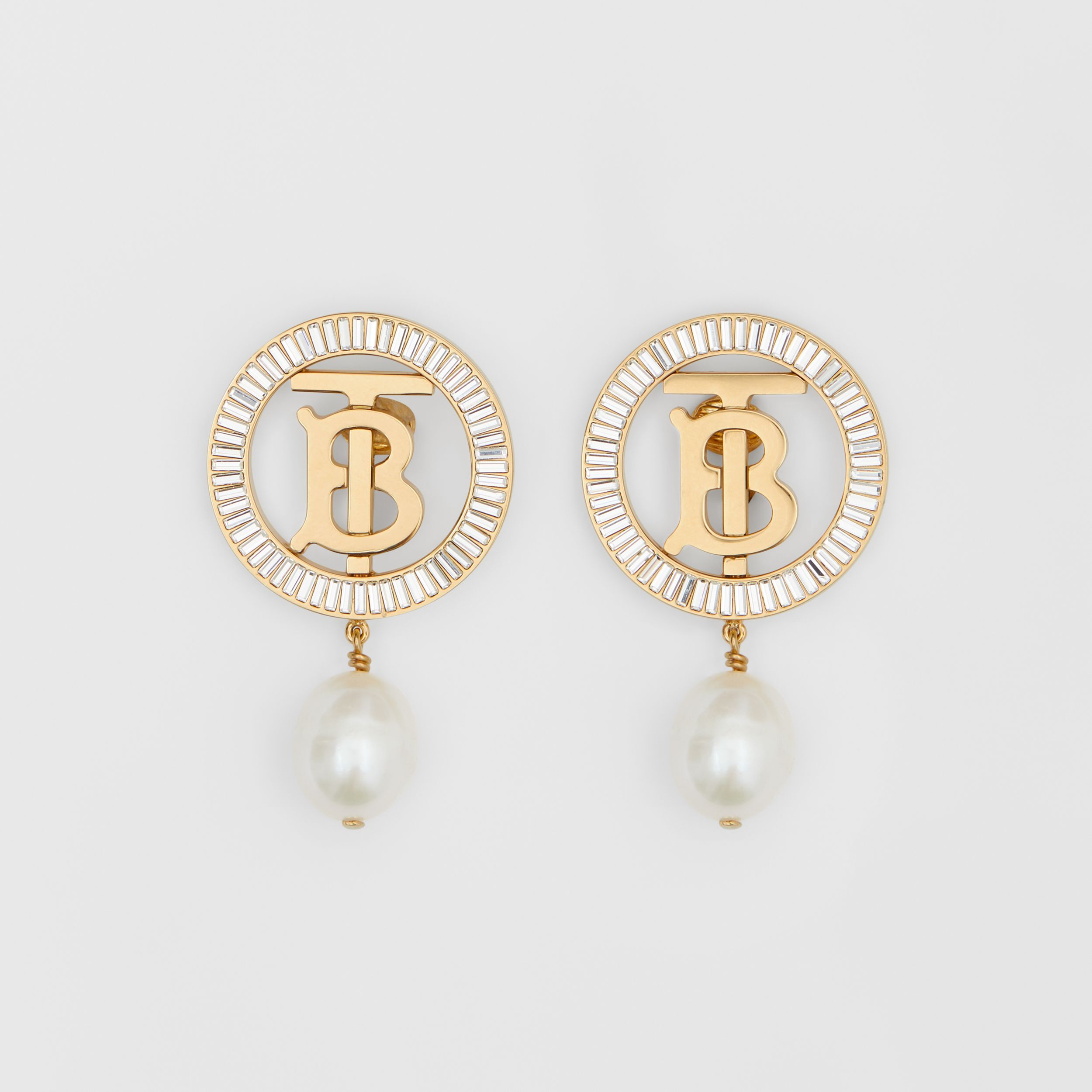 Pearl Detail Gold-plated Monogram Motif Earrings in Light Gold/crystal/white - Women | Burberry - 1