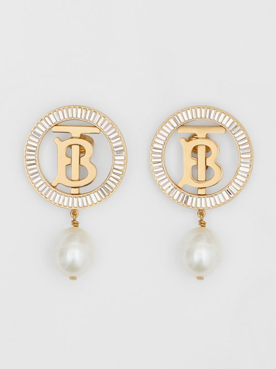 Pearl Detail Gold-plated Monogram Motif Earrings in Light Gold/crystal/white