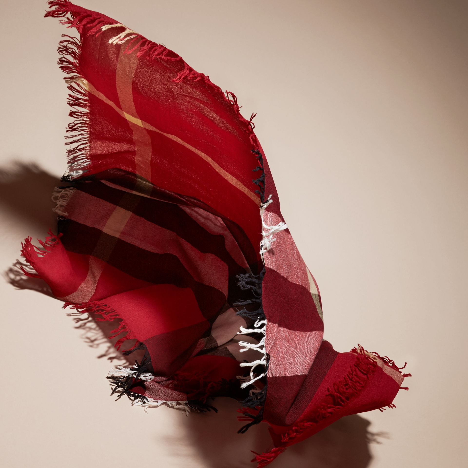 Check Wool Square - Large in Parade Red | Burberry - gallery image 5