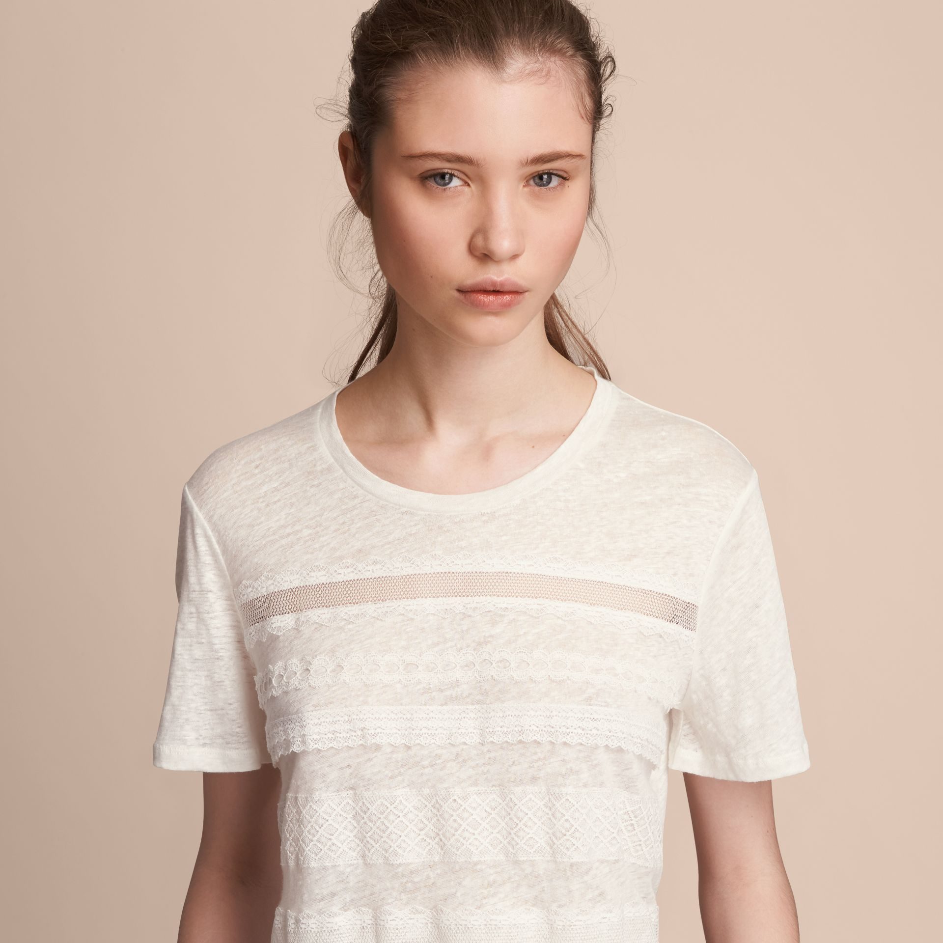 Lace Detail Linen T-shirt - Women | Burberry - gallery image 5