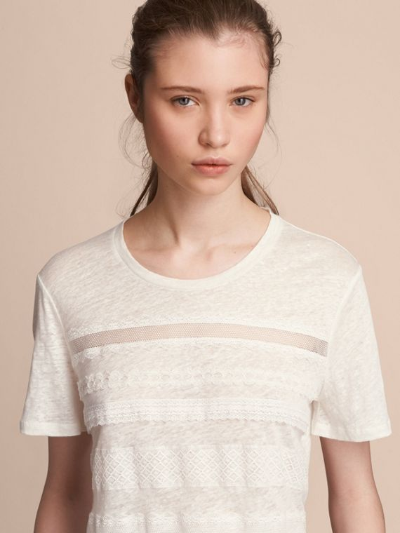 Lace Detail Linen T-shirt in White
