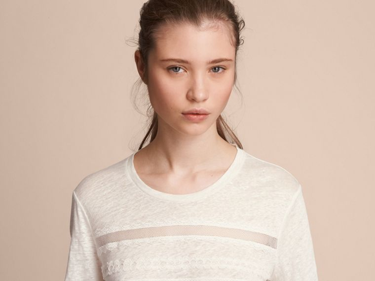 Lace Detail Linen T-shirt - Women | Burberry - cell image 4