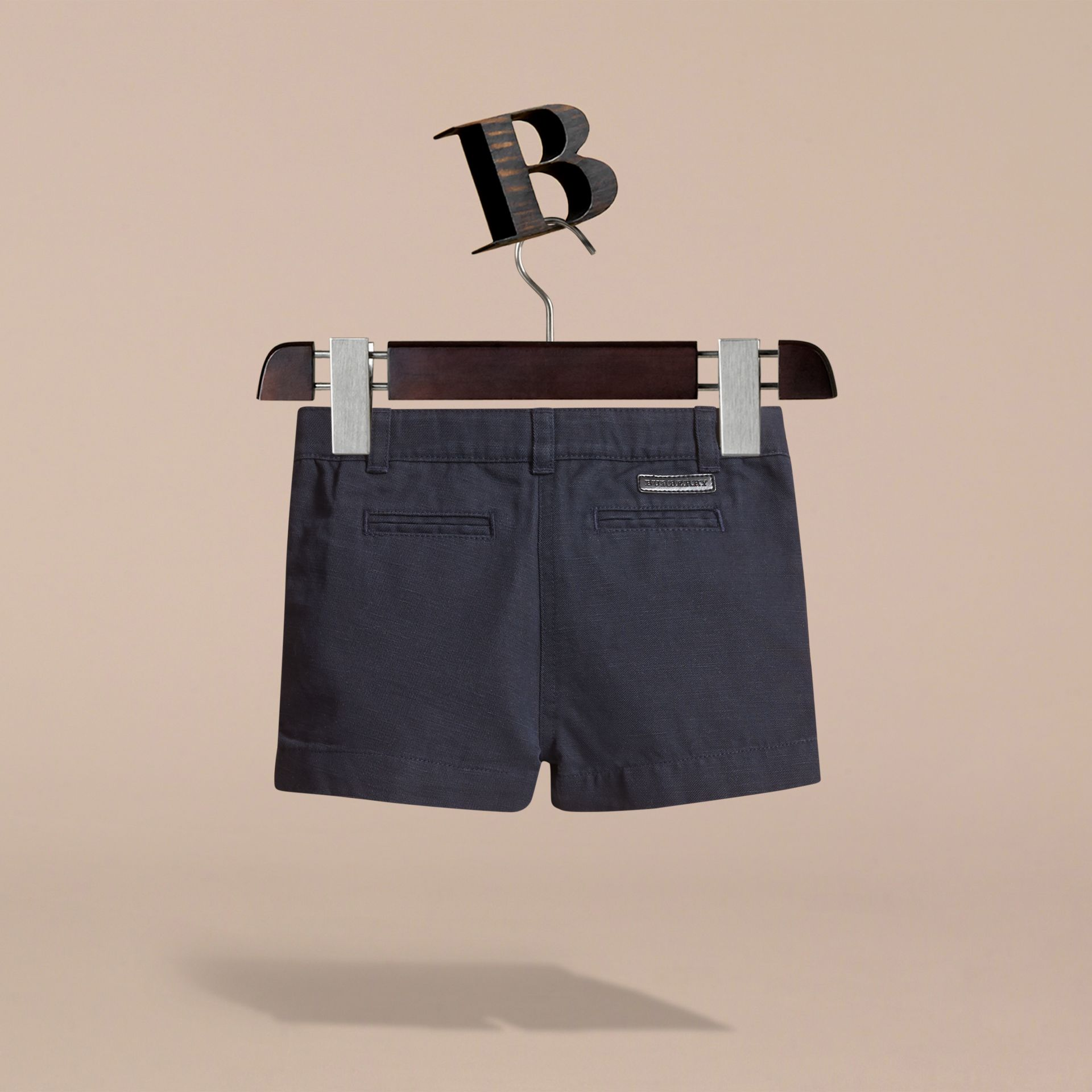 Button Detail Cotton and Linen Shorts in Navy - gallery image 3