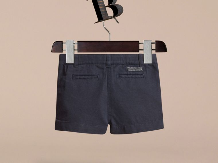 Button Detail Cotton and Linen Shorts in Navy - cell image 2