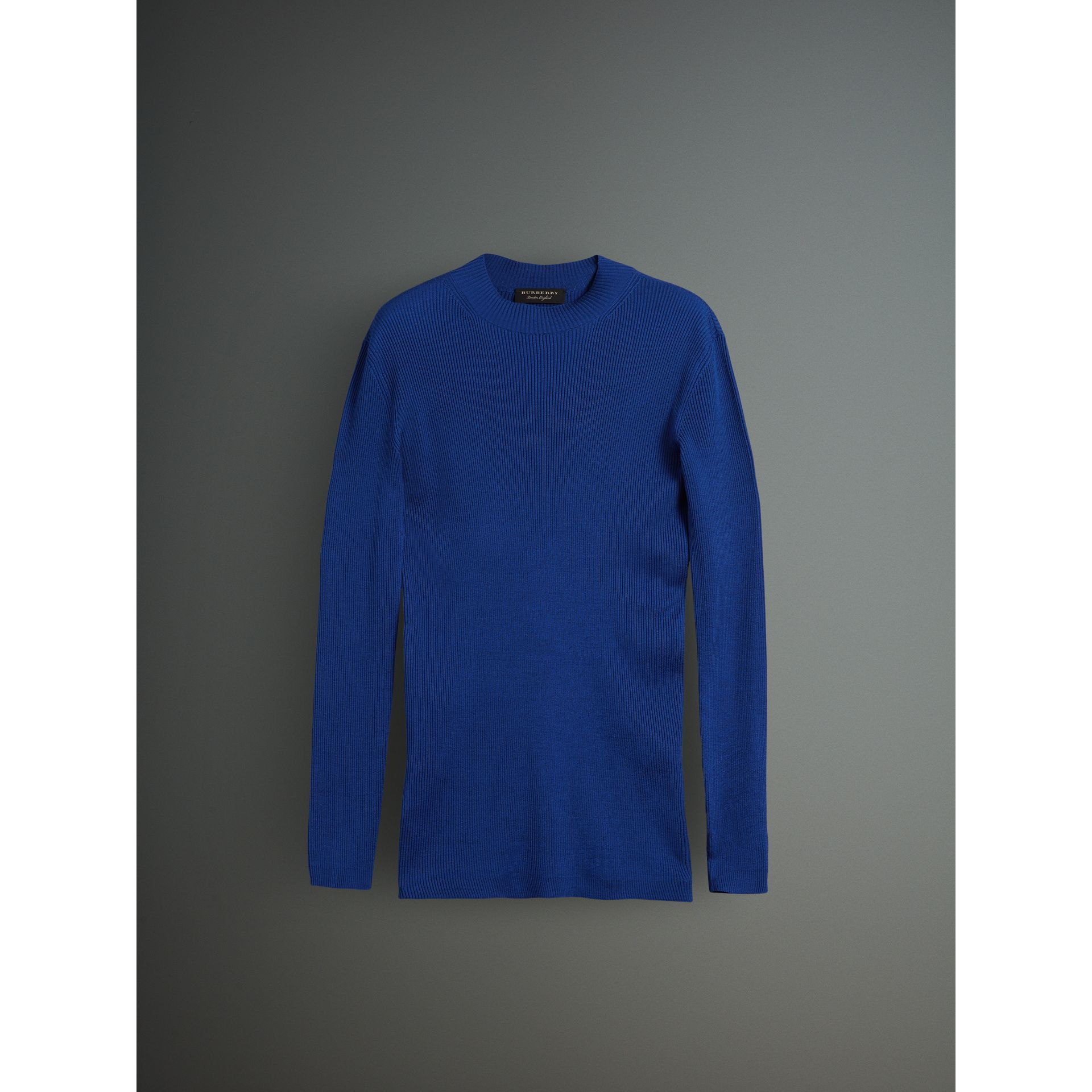Rib Knit Silk Fitted Sweater in Brilliant Blue - Men | Burberry United Kingdom - gallery image 3
