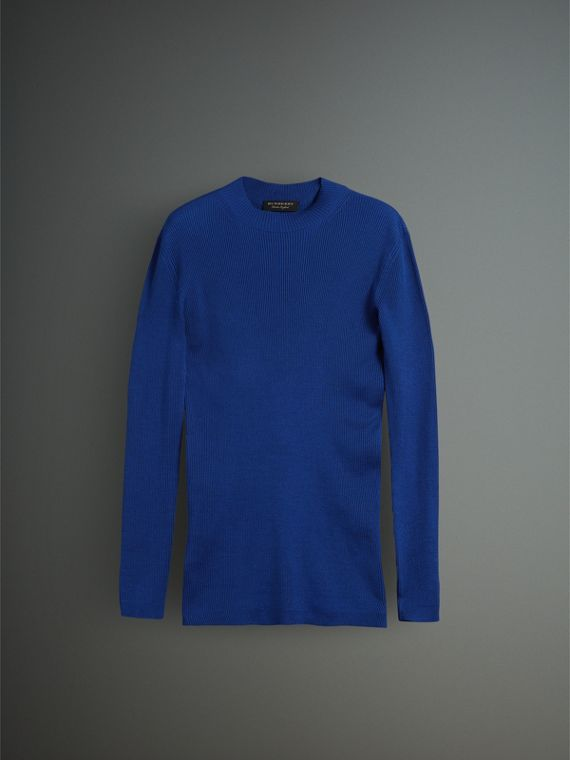 Rib Knit Silk Fitted Sweater in Brilliant Blue - Men | Burberry - cell image 3