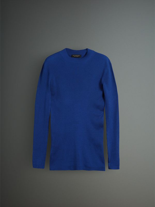 Rib Knit Silk Fitted Sweater in Brilliant Blue - Men | Burberry United Kingdom - cell image 3