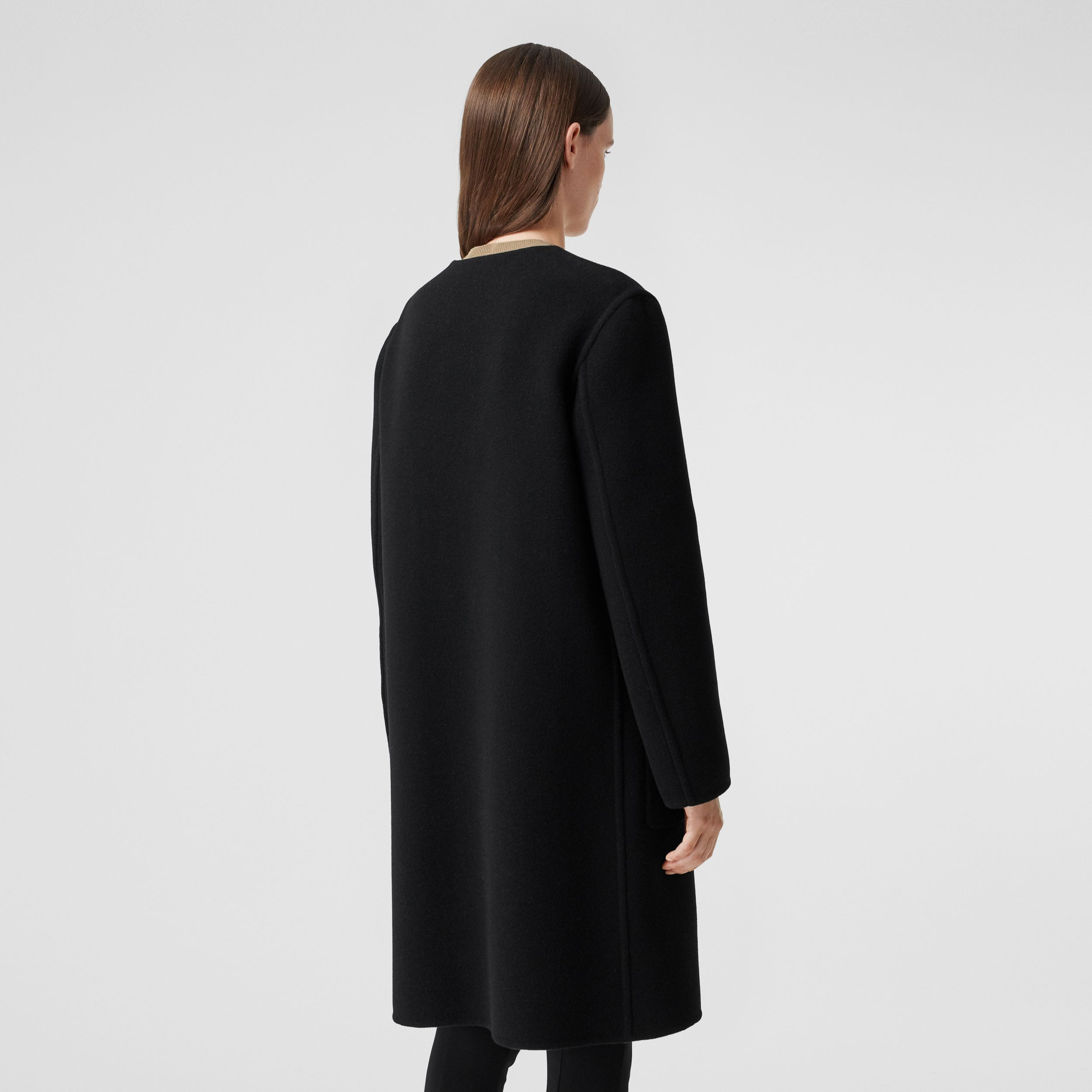 Reversible Check Technical Wool Coat in Black - Women | Burberry Singapore - 3