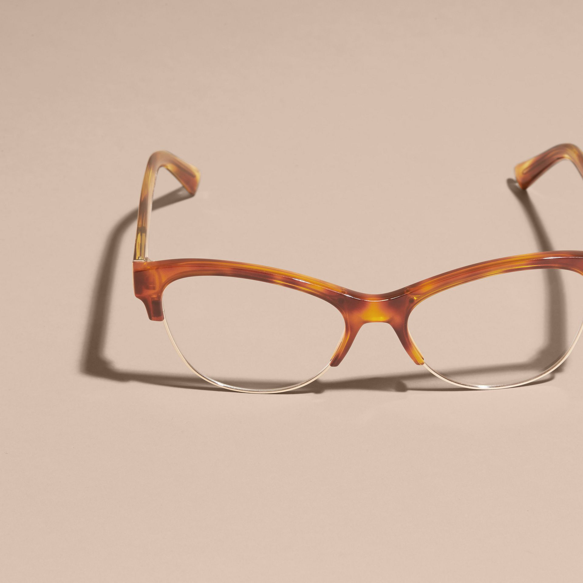 Half-rimmed Cat-eye Optical Frames in Light Russet Brown - gallery image 3