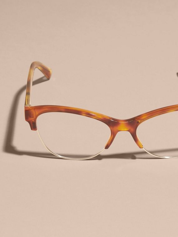 Half-rimmed Cat-eye Optical Frames Light Russet Brown - cell image 2