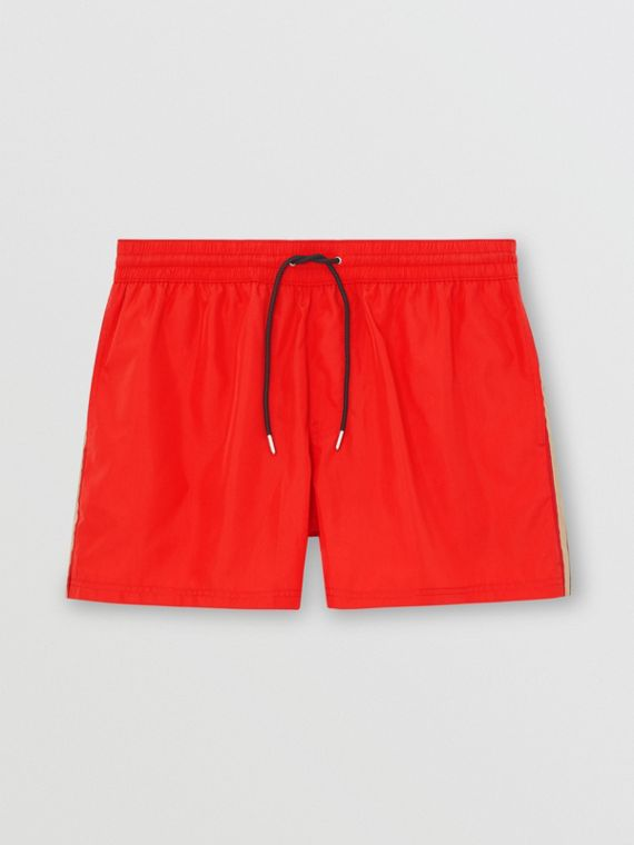 Icon Stripe Detail Drawcord Swim Shorts in Bright Red