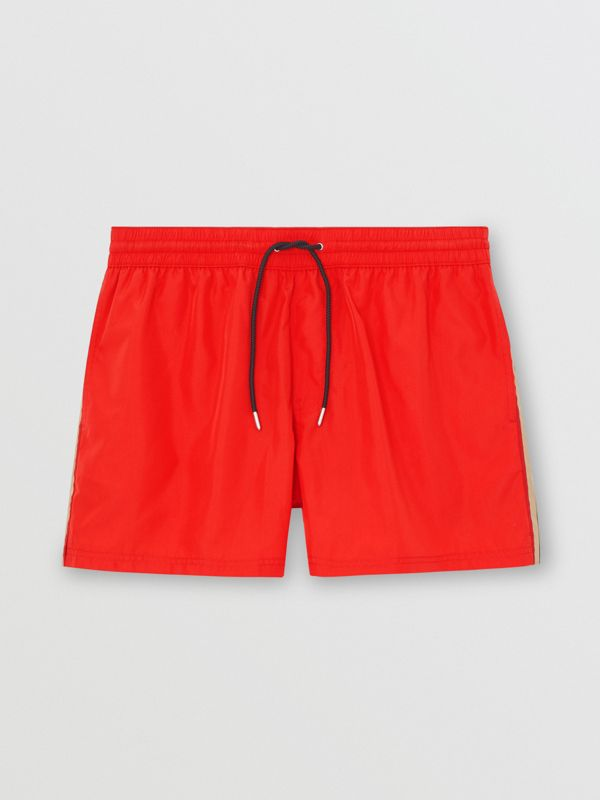 Icon Stripe Detail Drawcord Swim Shorts in Bright Red - Men | Burberry - cell image 2