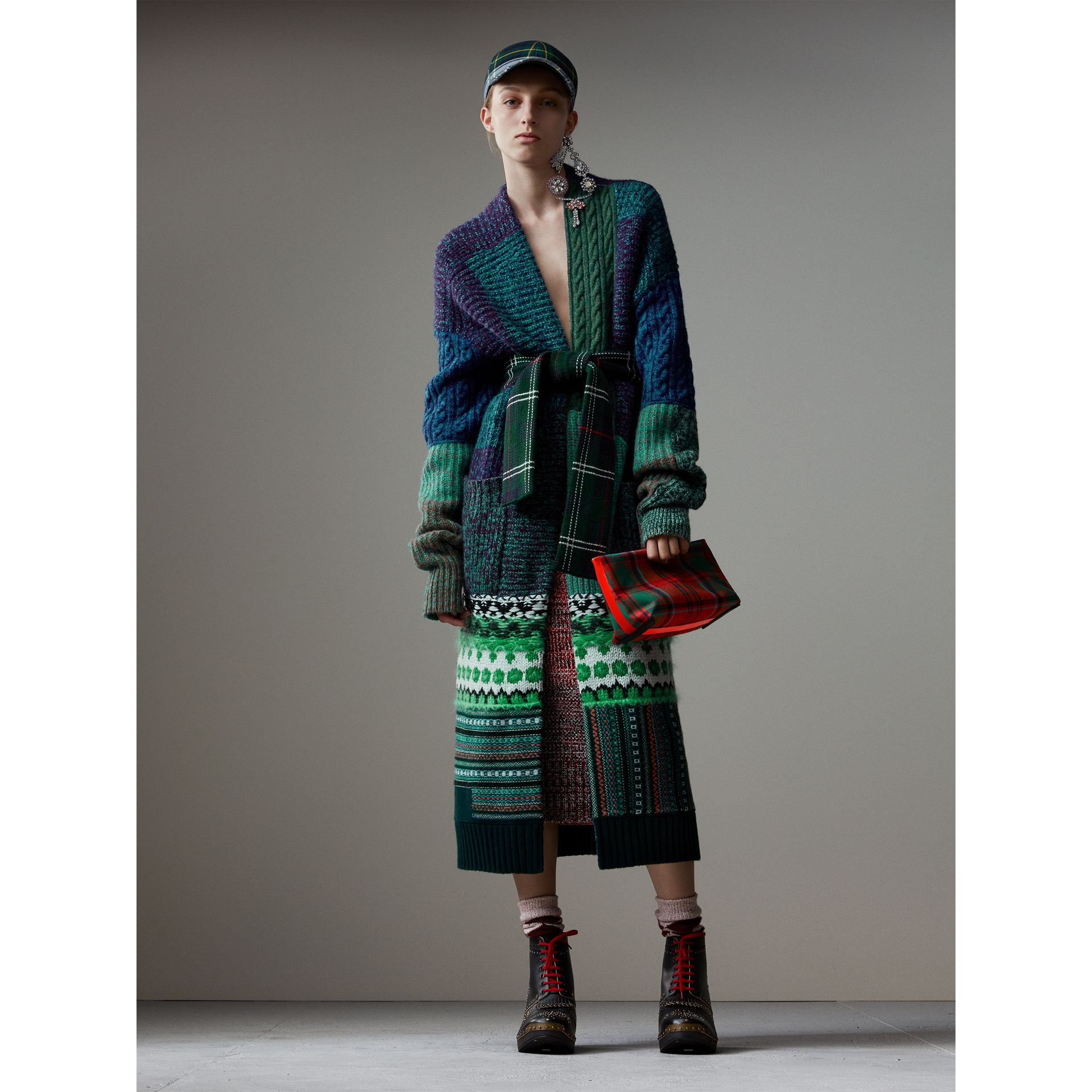Cashmere Cotton Wool Blend Mouliné Skirt in Red/black - Women | Burberry Hong Kong - gallery image 5