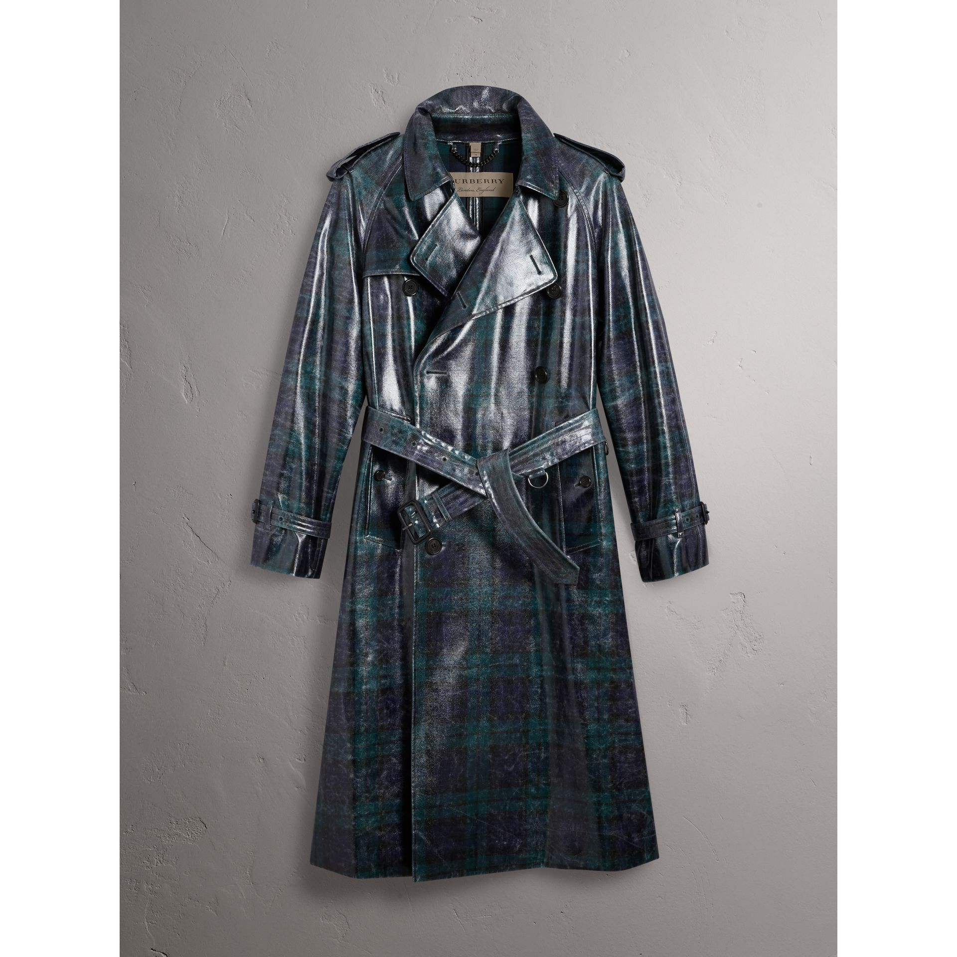 Laminated Tartan Wool Trench Coat in Navy - Men | Burberry United Kingdom - gallery image 4
