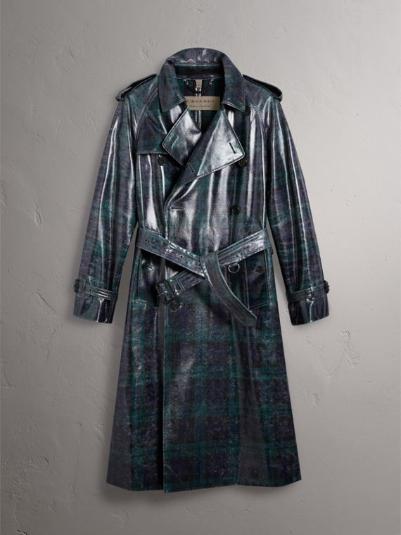 Laminated Tartan Wool Trench Coat in Navy