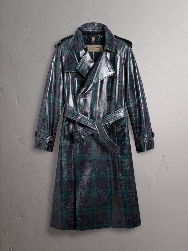 Laminated Tartan Wool Trench Coat in Navy - Men | Burberry - cell image 3