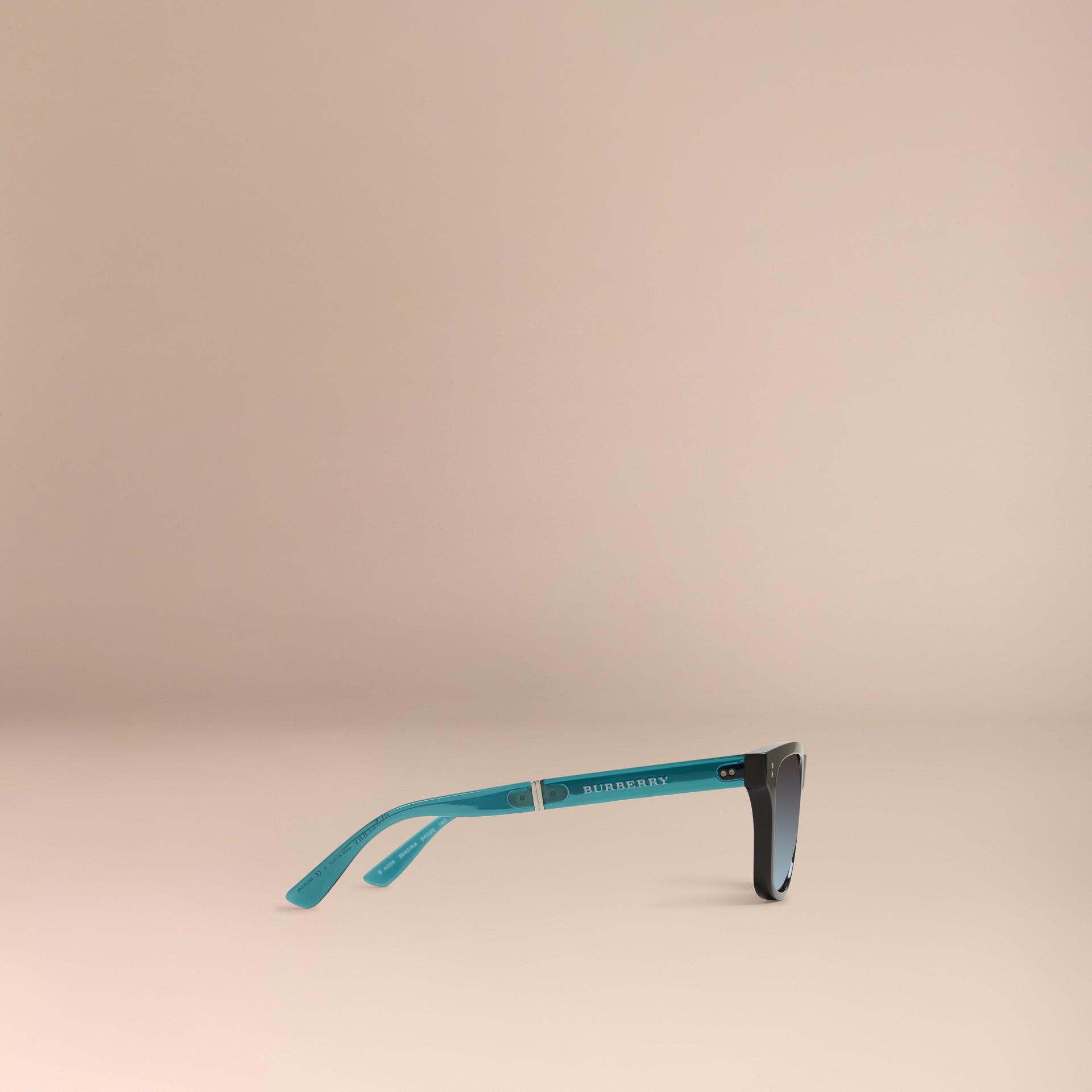 Nero Occhiali da sole con montatura rettangolare pieghevole Nero - immagine della galleria 4