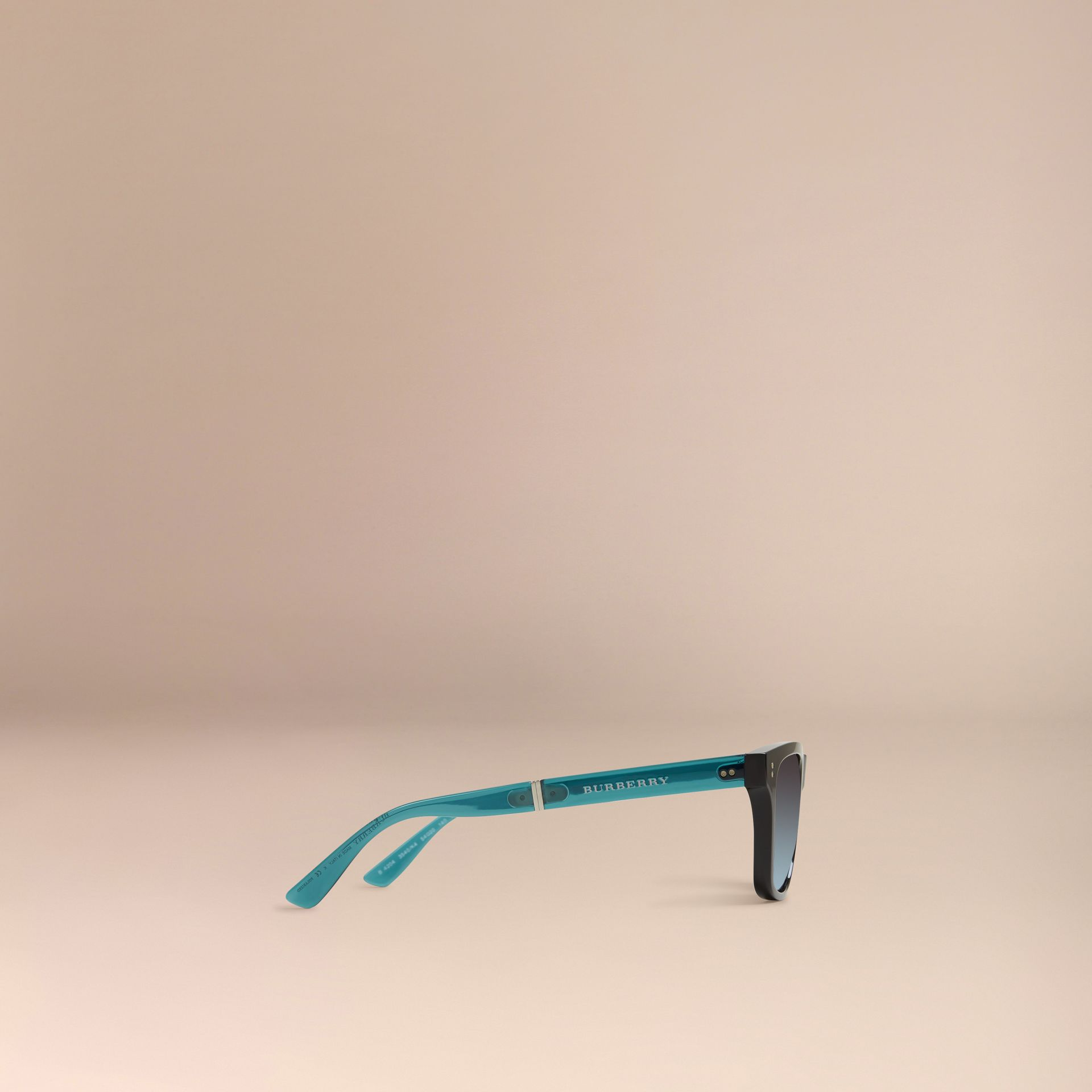 Black Foldable Rectangular Frame Sunglasses - gallery image 4
