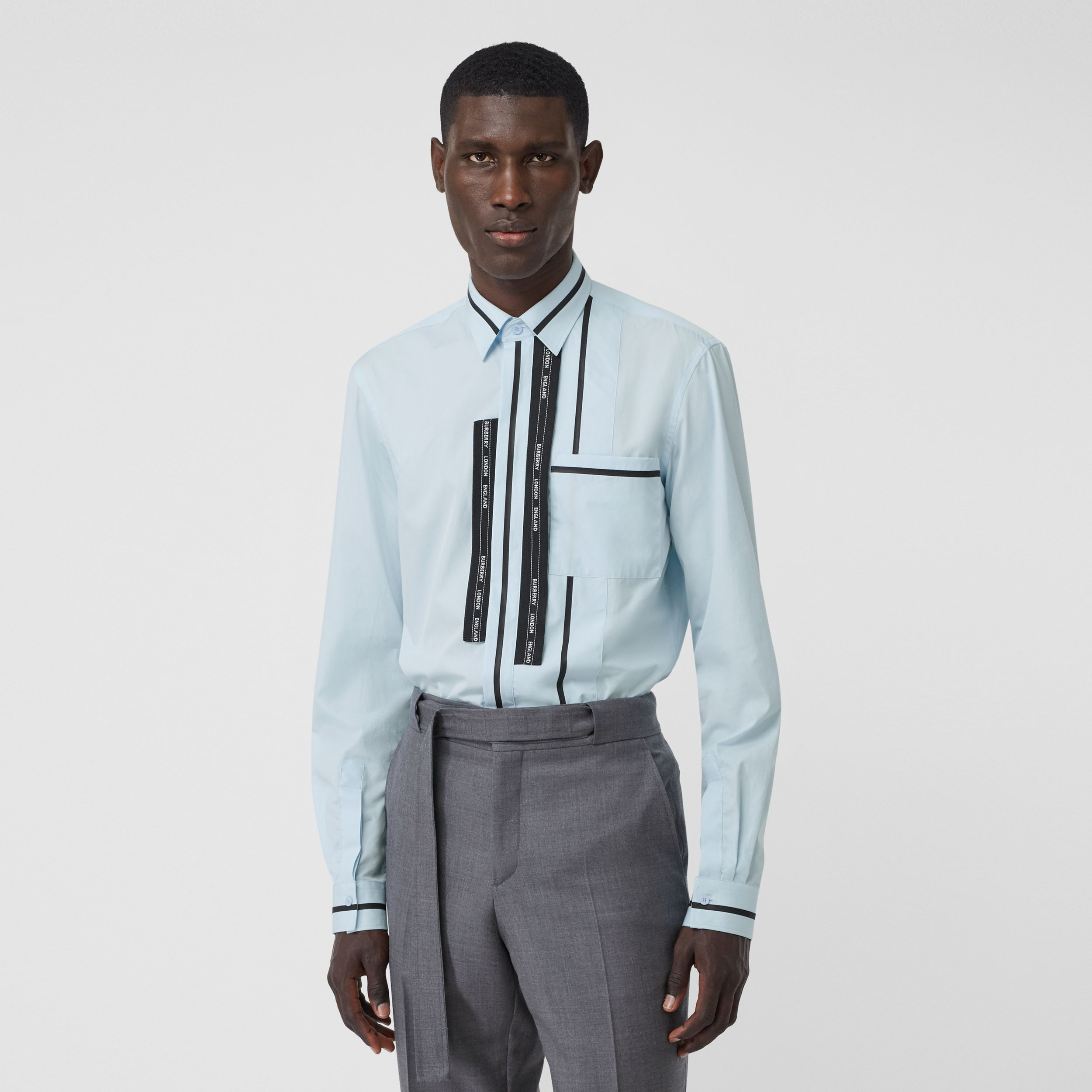 Classic Fit Logo Tape Detail Cotton Poplin Shirt in Pale Blue | Burberry - 1