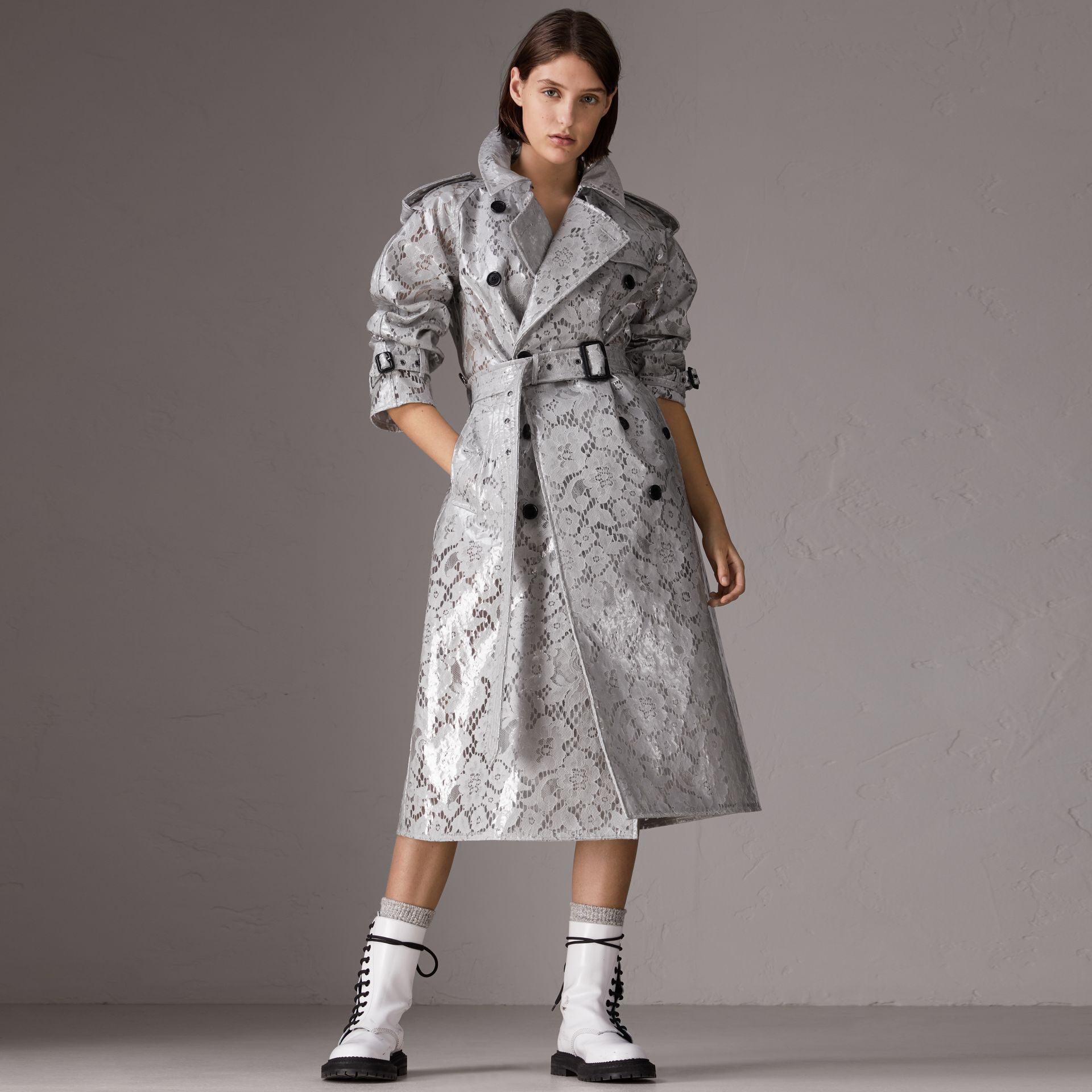 Laminated Lace Trench Coat in Pale Grey - Women | Burberry - gallery image 6