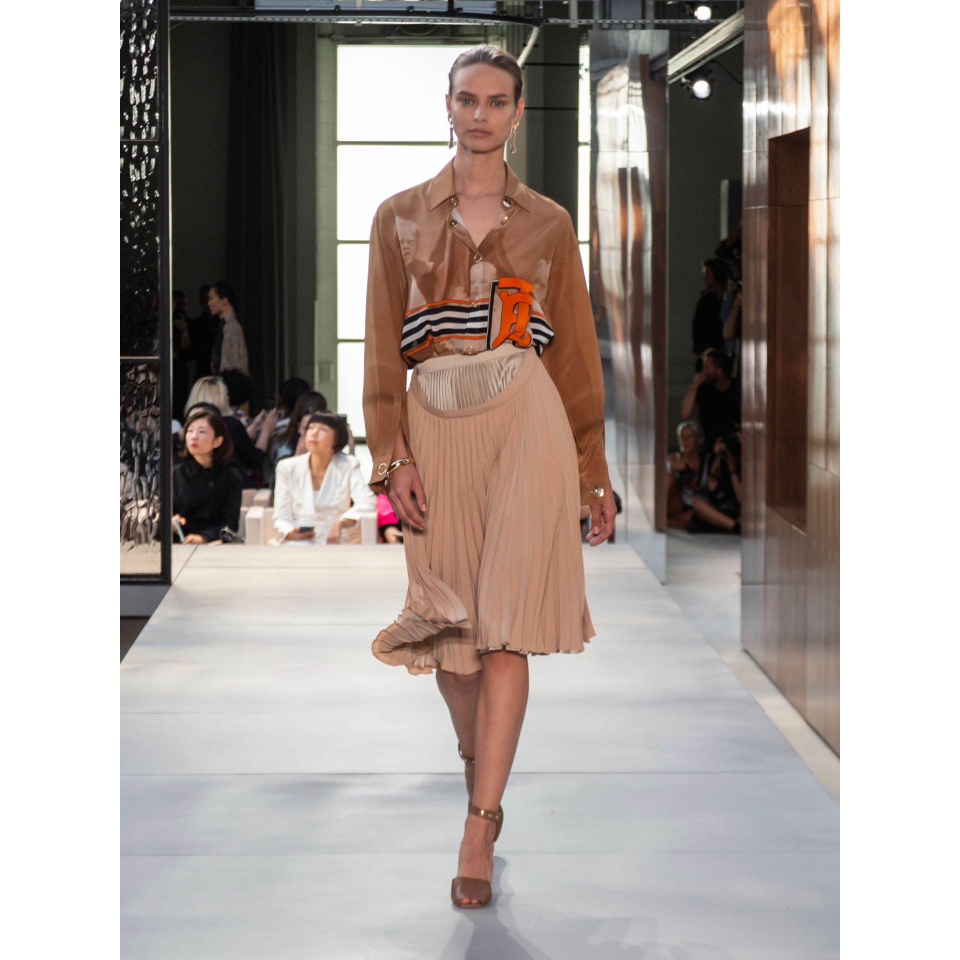 Pleated Double-waist Skirt in Sandbank - Women | Burberry Australia - gallery image 6