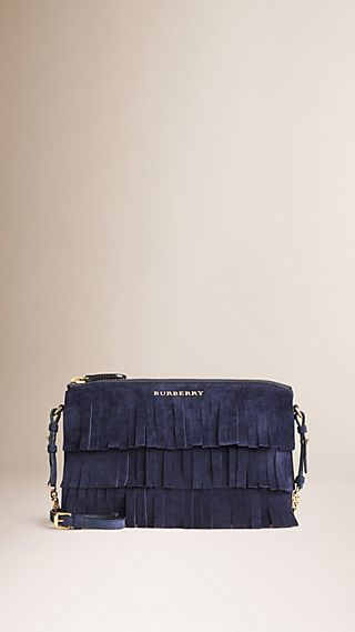 Suede Clutch Bag in Tiered Fringing