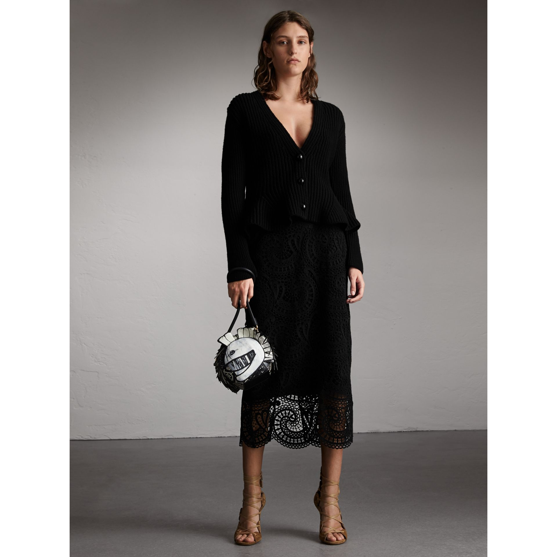 Knitted Wool Cashmere Blend Peplum Jacket in Black - Women | Burberry - gallery image 1