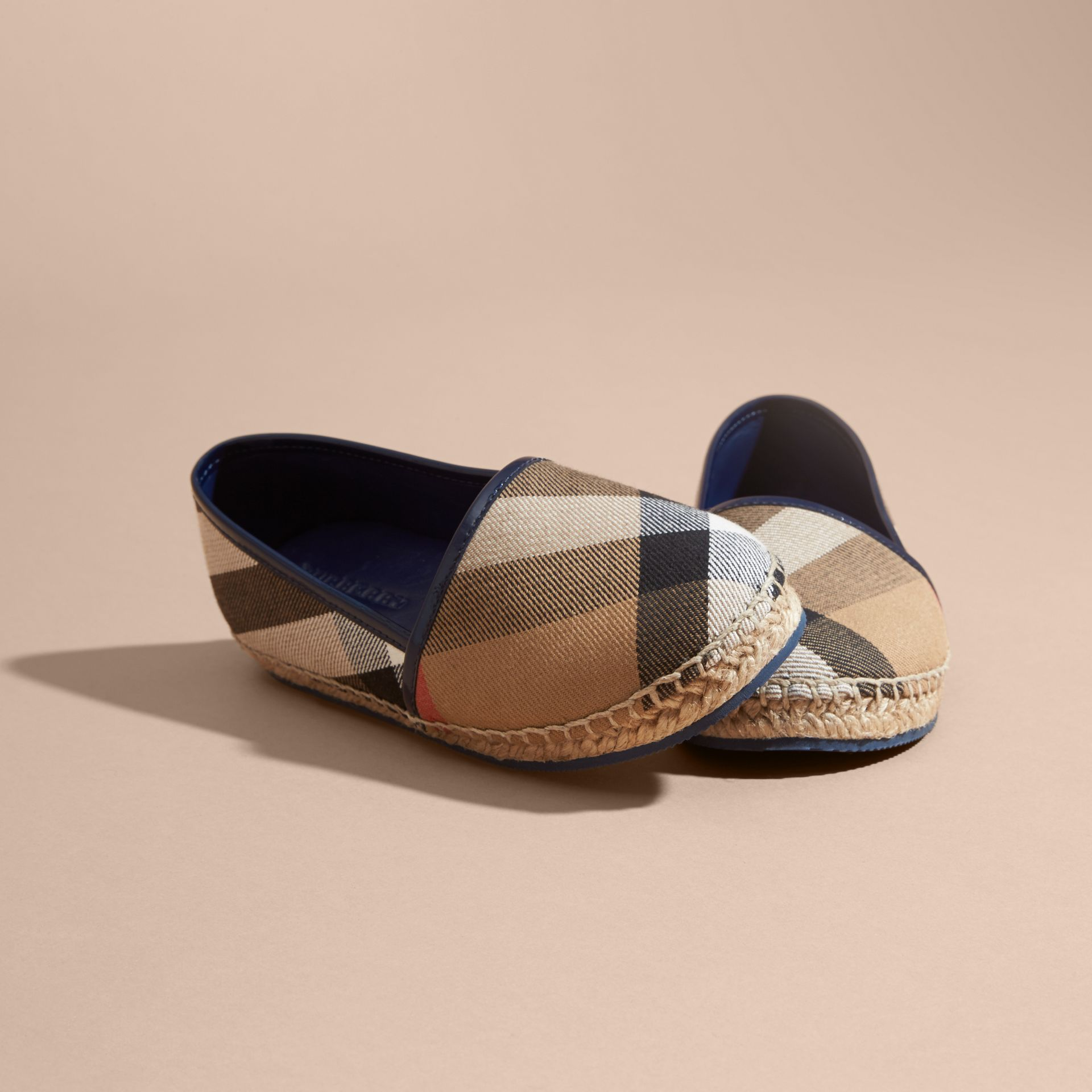 House Check Cotton Canvas Espadrilles Dark Sapphire - gallery image 3